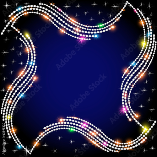 of the background frame with a wave of sparkling jewels