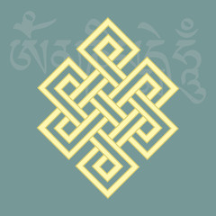 Endless knot,one of eight buddhist religious symbols,vector