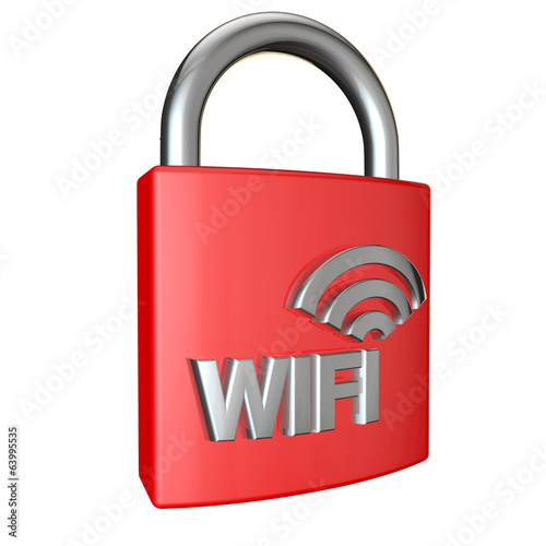 wifi padlock cut out on white background