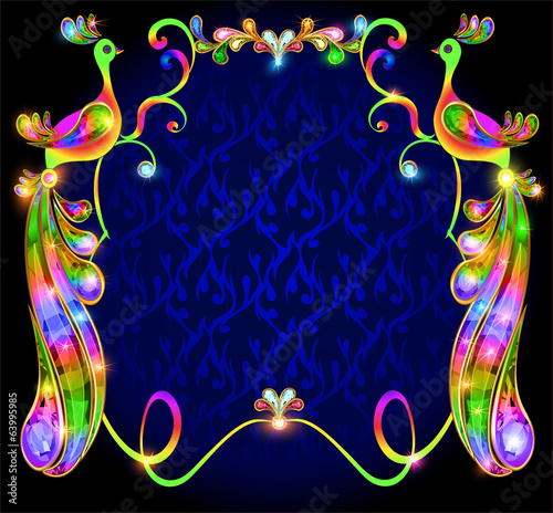 background with bright decorative peacocks with precious stones