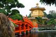 The Golden pavilion and red bridge in Nan Lian Garden, Hong Kong