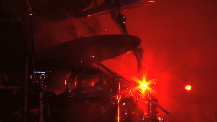 Cymbals being played by rock drummer