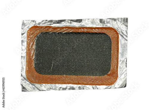 Patch for bicycle tube (with clipping path) isolated on white ba