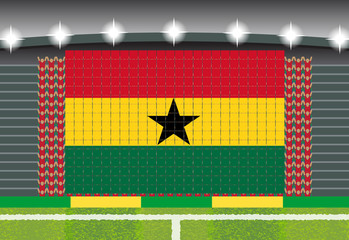 football fan cheering stadium transform into Ghana flag