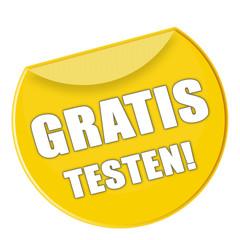 Button - Gratis testen - gelb - g873