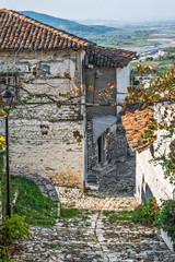 Cobbled street in old town Berat, Albania