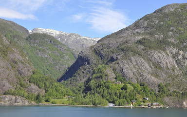 Akrafjord, Fjord, Laerdal, Sommer, Norwegen