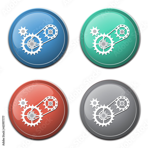 Chain with cogwheels icon abstract background