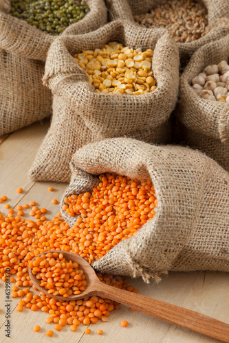 hessian bags with red lentils, peas, chick peas, wheat and green