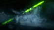 Green laser light flashing through clouds of smoke