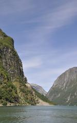 Naeroyfjord, Fjord, Fjordfahrt, Sommer, Norwegen