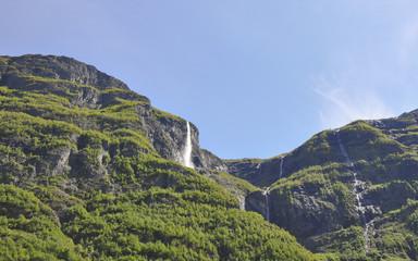 Naeroyfjord, Fjord, Schiffsreise, Wasserfall, Sommer, Norwegen