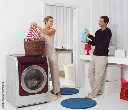 dooing  laundry with washing machine
