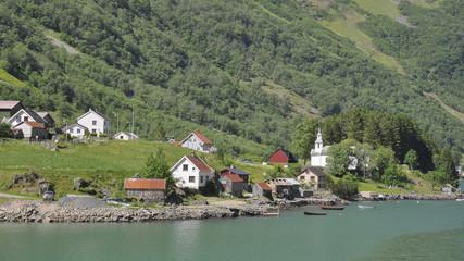 Naeroyfjord, Dorf, Fjord, Fjordfahrt, Laerdal, Sommer, Norwegen