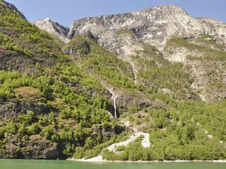 Naeroyfjord, Fjord, Wasserfall, Küste, Laerdal, Norwegen