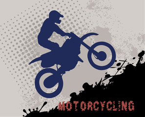 motorcycle racer silhouette on grunge background