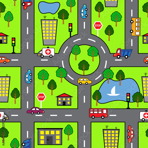 Cartoon seamless pattern with bright road, the car and the city
