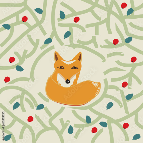 Illustration of a cute little fox in a forest
