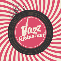 inscription jazz restaurant with sax on vinyl in retro style
