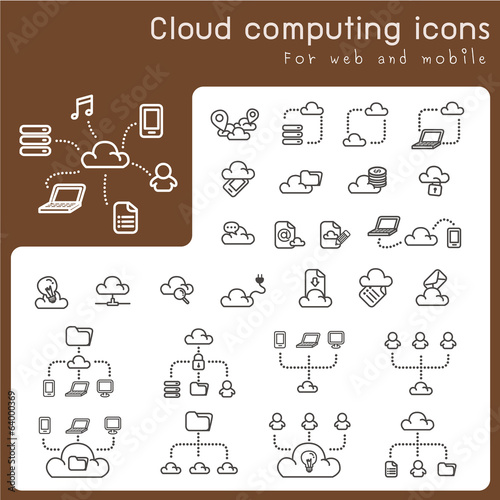 Set of icons for cloud computing
