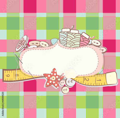 Pretty card with sewing accesories