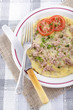 tuna omelette with parsley and tomato