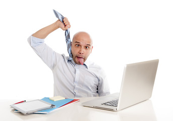 bald latin business man choking himself in stress at work