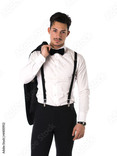 Handsome elegant young man with suit, bow-tie and moustache