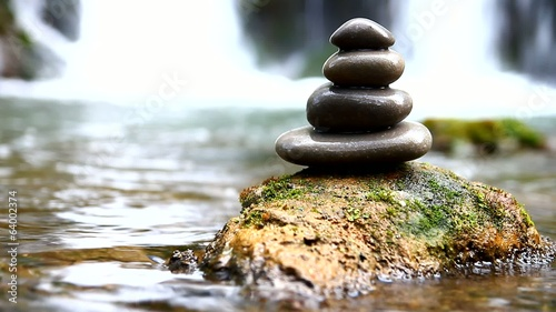 Zen stones and waterfall