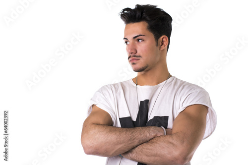 Hip, trendy young man with white t-shirt and necklace