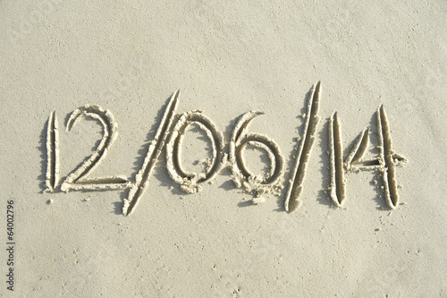 World Cup Brazil Kick-Off Date Message in Sand