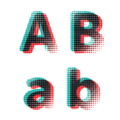 Vector raster spotted polka dot alphabet letters