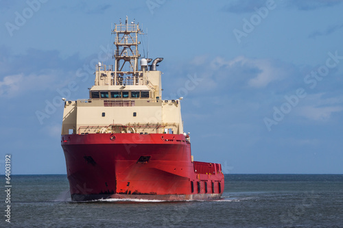 Red Oil Rig Supply Ship