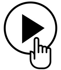 Hand on play vector icon