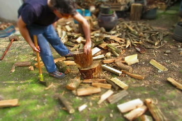woodcutter splitting firewoods in timelapse tiltshift footage