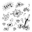set of old school tattoos elements