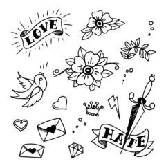 set of old school tattoos elements