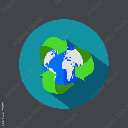 Vector flat recycle earth icon on gray background