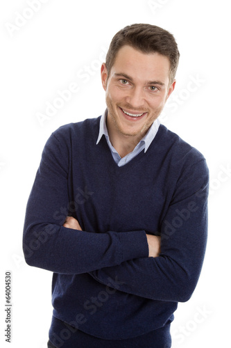 Business Mann in Pullover blau isoliert