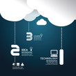 Infographic technology cloud paper cut style  template concept.