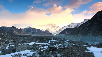Timelapse sunrise in the mountains Cho Oyu, Himalayas, Nepal.