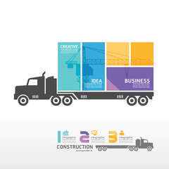 infographic Template with Container truck banner . concept