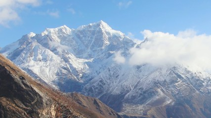 Timelapse sunrise in the mountains Everest (8848м), Himalayas,