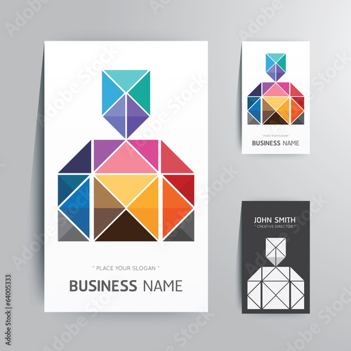 modern creative business card man shape design template .Vector