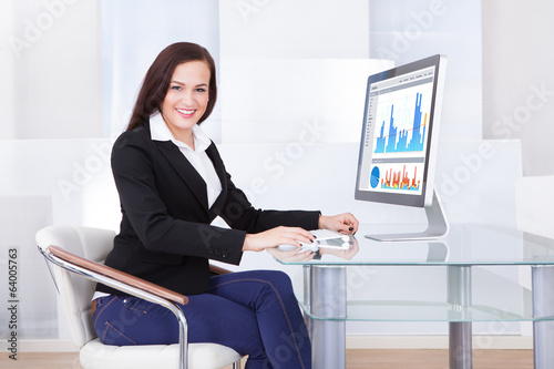 Businesswoman Using Computer