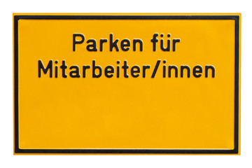 Schild - Parken für Mitarbeiter - Mitarbeiterinnen
