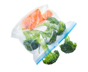 Vegetables in clear plastic bag