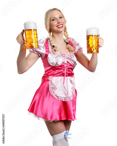 beautiful tiroler oktoberfest woman with beer