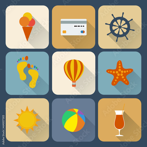 Travel icons set. Flat design.