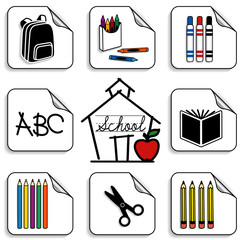 Schoolhouse Stickers for daycare, kindergarten, scrap books